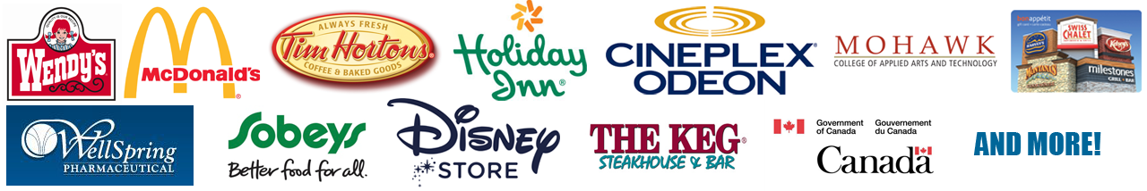 Wendy's, McDonalds, Tim Hortons, Holiday Inn, Cineplex Odeon, Mohawk, Well Spring, Sobeys, Disney, The Keg, Canada and More!